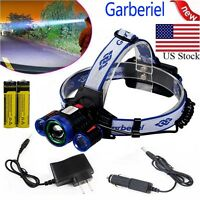 CREE 35000LM Zoom Headlamp XM-L 3x T6 LED Headlight 18650 Battery Light Charger
