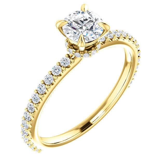 14K Yellow gold Round Forever One Moissanite & 1 3 CTW Diamond Engagement Ring