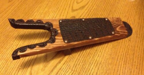 Deluxe Wood ** Boot Jack ** Boot Puller ** Shoe Remover With Crocodile Trimming