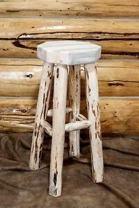 Rustic Log Bar Stool Backless 24 Inch Amish Made Barstools Cabin