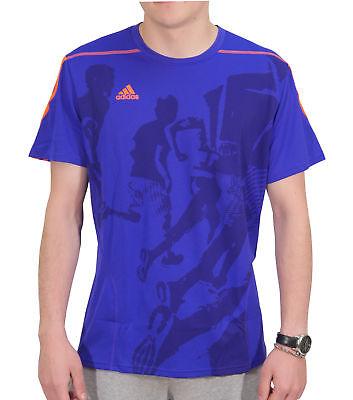 Adidas Climalite Mens Running T-shirt Blue Graphic Print Short Sleeve Top Sport Klar Und GroßArtig In Der Art