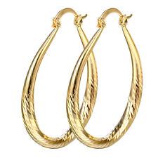 Women's Fashion 18K Yellow Gold Filled Oval Dangle Hoop Earrings Ear Stud