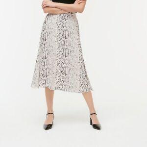 J Crew Women's Animal-print Pleated Midi Skirt Item Al202 Size 0 $89