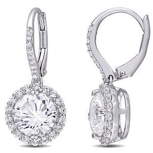 Amour Sterling Silver Created White Sapphire and Diamond Halo Leverback Earrings