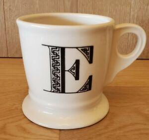 Anthropologie White Coffee Mug Cup Black Letter E Initial Monogram Shaving Mug
