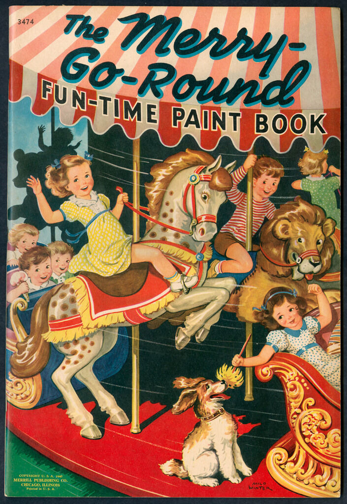 Circus UNcolorD  Merry-Go-Round Fun-Time Paint Book  Merrill 1940 (5544)