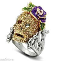Skull With Flower Crystal Stones Two Tone Gold Ep Mens Ring