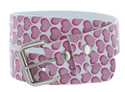 White Belt Strap Pink Heart Pattern with Roller Buckle