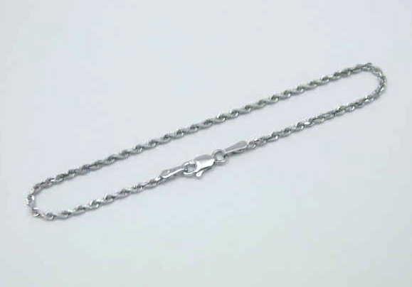 2mm Solid 14k oro Bianco Bianco Bianco e Diamanti Taglio a Corda Cinturino a Catena 20.3cm 2b90eb