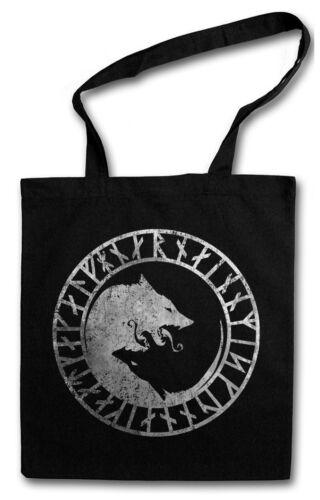 GERI AND FREKI SHOPPER SHOPPING BAG Wolves Odin Wolves Newpaganism Vikings