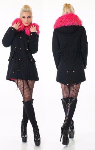 Cappotto da Donna Inverno Parka Giacca Webpelz cappuccio morbidose Teddy Pelo Rosa Nero