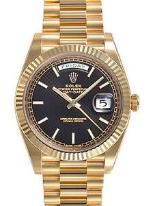 Rolex-Day-Date-228238-President-40mm-Yellow-Gold-Black-Diagonal-Motif-Dial-Watch