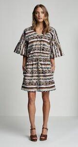 Stunning-scanlan-theodore-Congo-Stripe-Print-Dress-Sz-M-L-RRP-500-BNWT