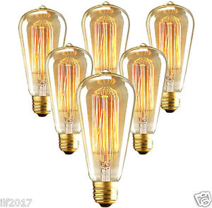 Vintage EDISON 110V 40W Watt Light Bulbs Incandescent Filament US E26 ST64 Bulb