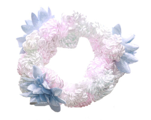 Vintage /& Sublime Blush Pink /& Shiny White Wash /& Blue Flower Hair Band Zx165