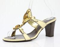 Giuseppe Zanotti Design Gold/beige Slide On Sandals Size 8 Eu 38