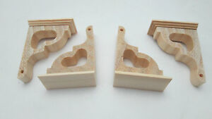 Dollhouse Miniature Unfinished Wood 4 Post Brackets
