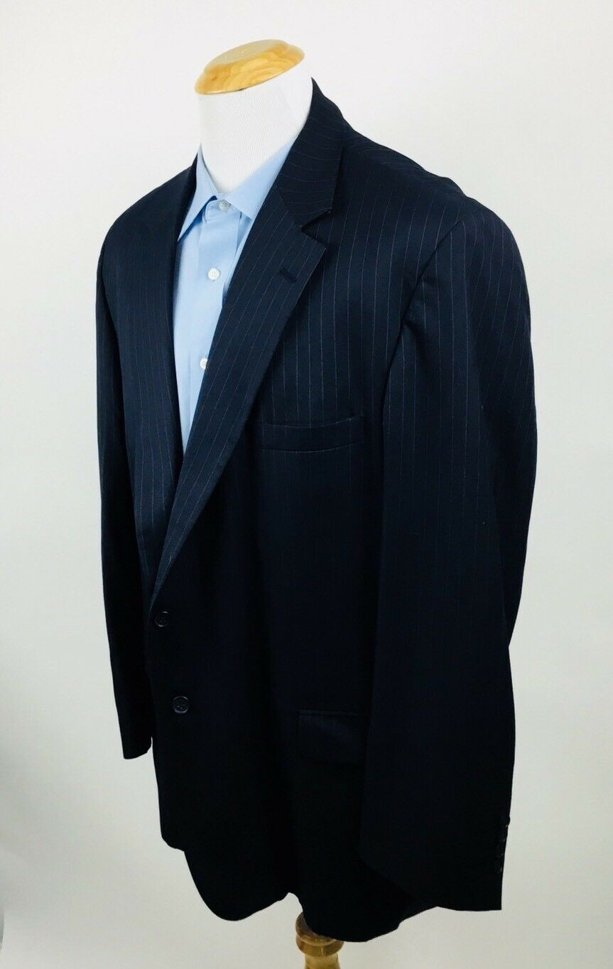 Mens Classic Clothiers 2 Button Single Vent Pin Striped Blazer 52L Sports Coat