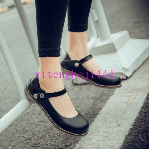 Retro Womens Flat Heel Ankle Strap Round Toe Mary Jane Pumps College Shoes Sweet