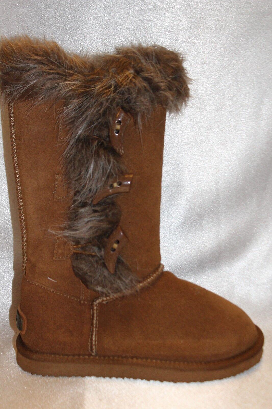 NIB  NEW  K'VRRA K'VRRA K'VRRA by Koolaburra Tall Chestnut Suede ALEXANDRA Fur Cuff Stiefel Sz 6 47f8f7