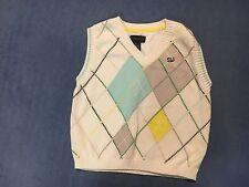 Sean John Boy's White & Blue & Gray Sweater Vest.  Size 4T.