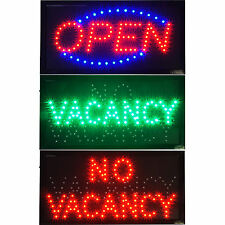 2 SIGNS - Hotel Motel Vacancy / No Vacancy Rooms LED & Open Shop Business neon