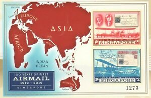 SINGAPORE-2019-100-YEARS-OF-FIRST-AIRMAIL-SERIALISED-IMPERFORATED-SOUVENIR-SHEET