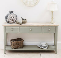 Florence Console Table, Kitchen Hallway Console Table With 3 Drawers, Sage Green