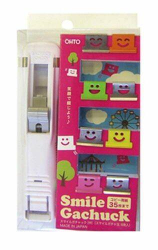 Ohto Smile Gachuck Medium White Bulldog clip Paper clip F//S w//Tracking# Japan
