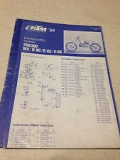 KTM 250 300 MX D-XC E-XC E-GS châssis parts list 1991 liste pièce détachée