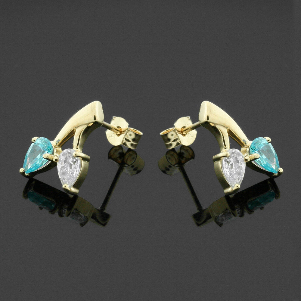 9ct Yellow gold Cubic Zirconia Pear Stud Earrings Hand MADE IN Free Box