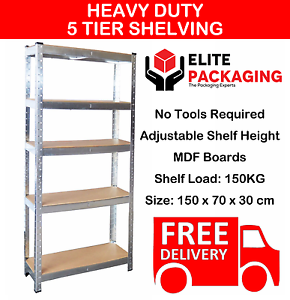 5-Tier-Heavy-Duty-Boltless-Metal-Grey-Shelving-Storage-Unit-Shelves-Garage-Home
