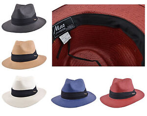 72a3d5f8bce Mens Ladies Packable Paper Straw Summer Panama Fedora Hat With Band ...