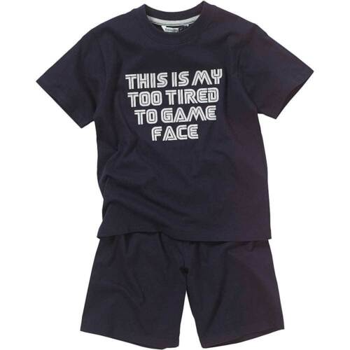 Bedlam Boys Too Tired To Game Face Printed T-Shirt Shortie Pyjama Set Grey Navy