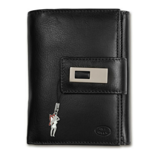 Portemonnaie Leder schwarz große Brieftasche Geldbörse XL Ausweisetui OPD701F