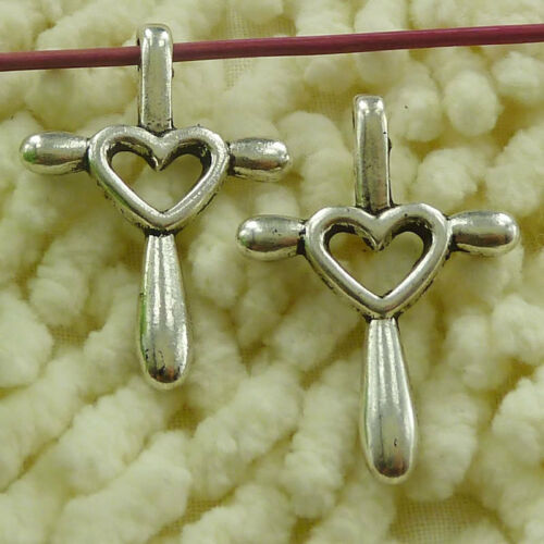 free ship 42 pieces tibetan silver heart cross charms 32x23mm #3250