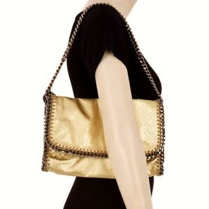 864c58015a43 Image is loading STELLA-McCARTNEY-Large -Gold-Metallic-Faux-Leather-Snakeskin-