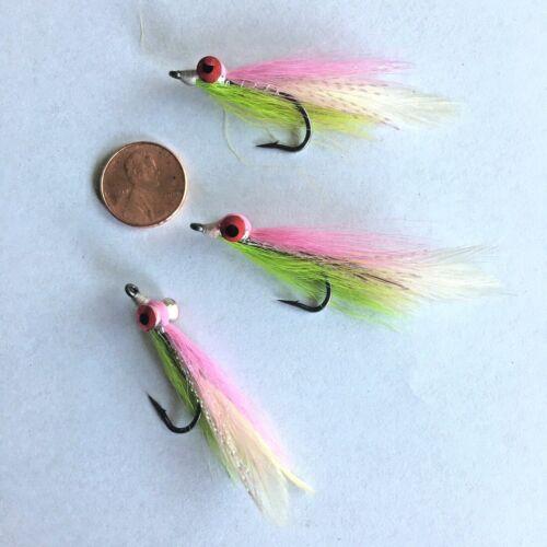 Salt or Fresh CLOUSER MINNOW FISHING FLIES~Chartreuse//Pink ~ Size 2 ~ 3 per pkg.