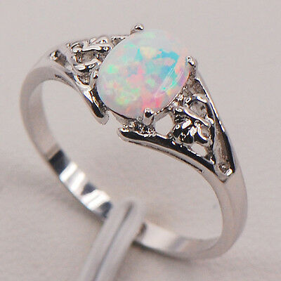 White Fire Opal 925 Sterling Silver Gemstone Jewelry Ring Size 5 6 7 8 9 10 11