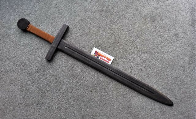 Black wooden sword with leather bound handle LARP