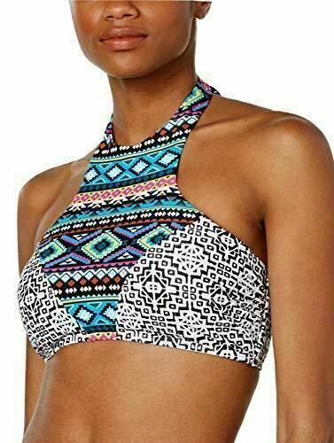 Hula Honey Desert Daze Print High Neck Bikini Top Strappy Back MEDIUM XSMALL