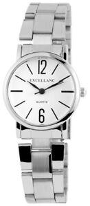 Excellanc-Damenuhr-Weiss-Silber-Analog-Edelstahl-Quarz-Armbanduhr-X180722000012