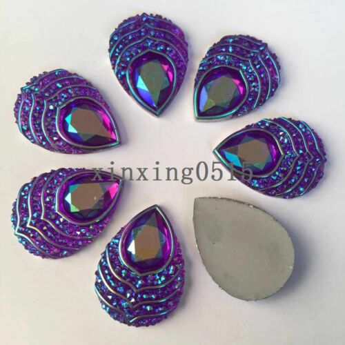 10PCS 18*25mm AB Resin phoenix eyes drop Flatback Rhinestone Wedding DIY crafts