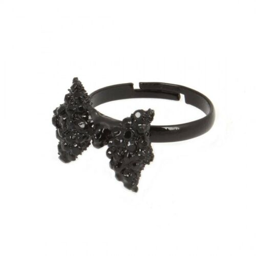 Lazo Negro Anillo Mujer Cristal Ajustable Bisutería Moda Kitsch