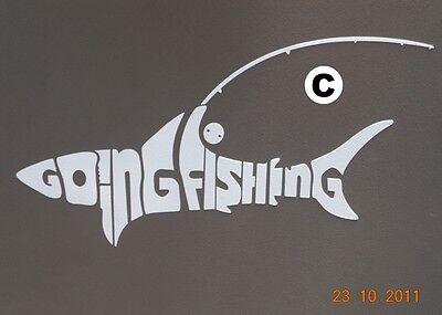 Going Fishing 4WD Shark Fishing Rod Reel Sticker White Decal