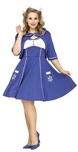 Sweet-Sailin-039-Sailor-Dress-Plus-Size-Women-039-s-Costume-40s-50s-Retro-Swing-1X-2X
