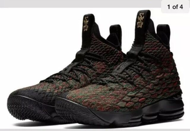 6c09e9e33ec2f Nike Lebron XV Limited BHM GS Basketball Shoes Size 5y Black Red 943762 900