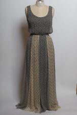 7dc494b016c ella moss black white beige blue multi pattern silk sleeveless maxi dress  size M