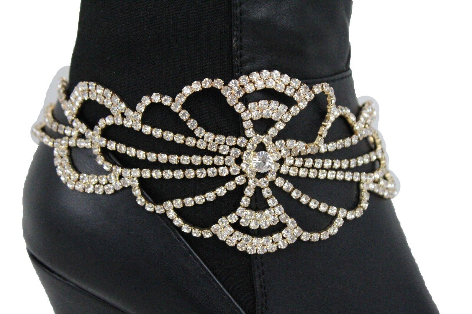 Sexy Women Gold Chain Boot Bracelet Anklet Heel Shoe Fancy Flower Charm Jewelry