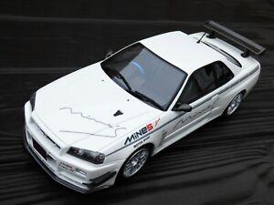 1-18-OT760-Otto-Nissan-Skyline-GT-R-R34-Blanco-de-Minas-limitada-sintonizado-Coche-Modelo-de-juguete